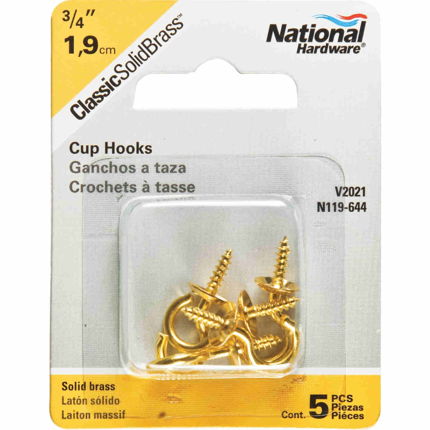 National V2021 3/4 In. Solid Brass Series Cup Hook (5 Count) Image 2