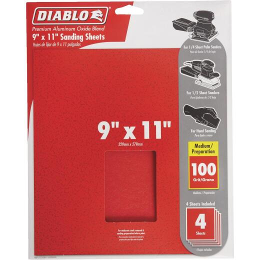 Diablo 9 In. x 11 In. 100 Grit Medium Sandpaper (4-Pack)